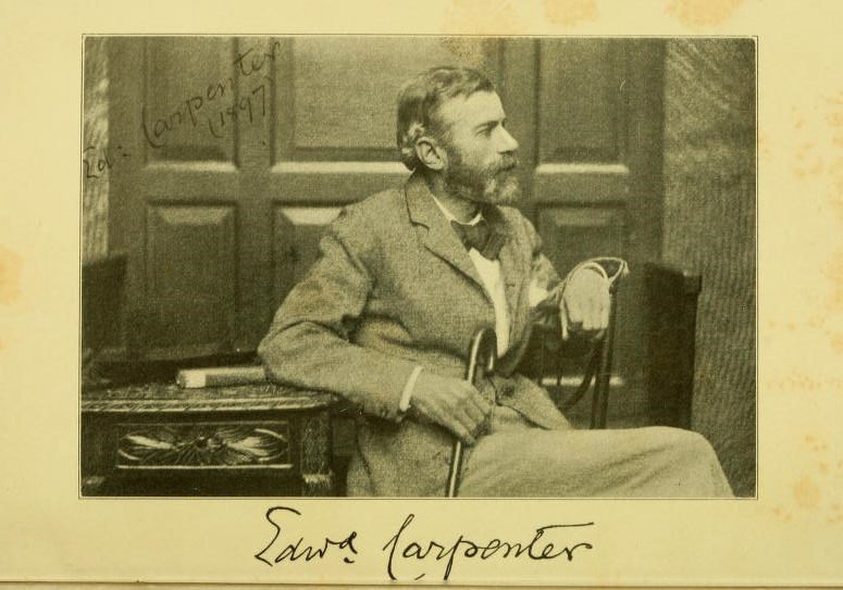 Edward Carpenter sits dynamically with his back to a late Victorian desk. He is sat in a chair that is facing in towards the desk, but he is facing away from the desk. His right elbow rests on the desk with his left arm resting on the back of the chair.He has a neat, trimmed beard which is peppered with patches of white and grey. He is wearing a suit, with a bow-tie and holding the top of a rounded walking stick in his right-hand. Edward Carpenter is looking out of the frame. This gives us a profile of his face. While his pose in the chair gives a three-quarters profile of his upper-body and the top of his thighs.